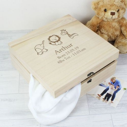 Personalised Hessian Friends Large Wooden Keepsake Box